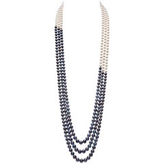 Yoko London Three-Row Black and White Pearl Necklace with 18 Karat Gold Clasp