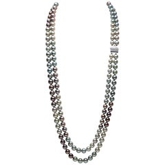 Yoko London Two-Row Multicolored Tahitian Pearl Long Necklace in 18K White Gold