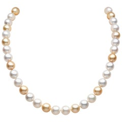 Yoko London White and Golden South Sea Pearl Necklace in 18 Karat Yellow Gold