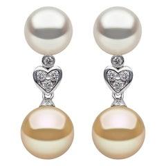 Yoko London White & Golden South Sea Pearl & Diamond Earrings in 18k White Gold