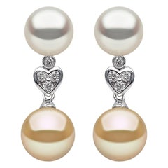 Yoko London White & Golden South Sea Pearl & Diamond Earrings in 18K White Gold