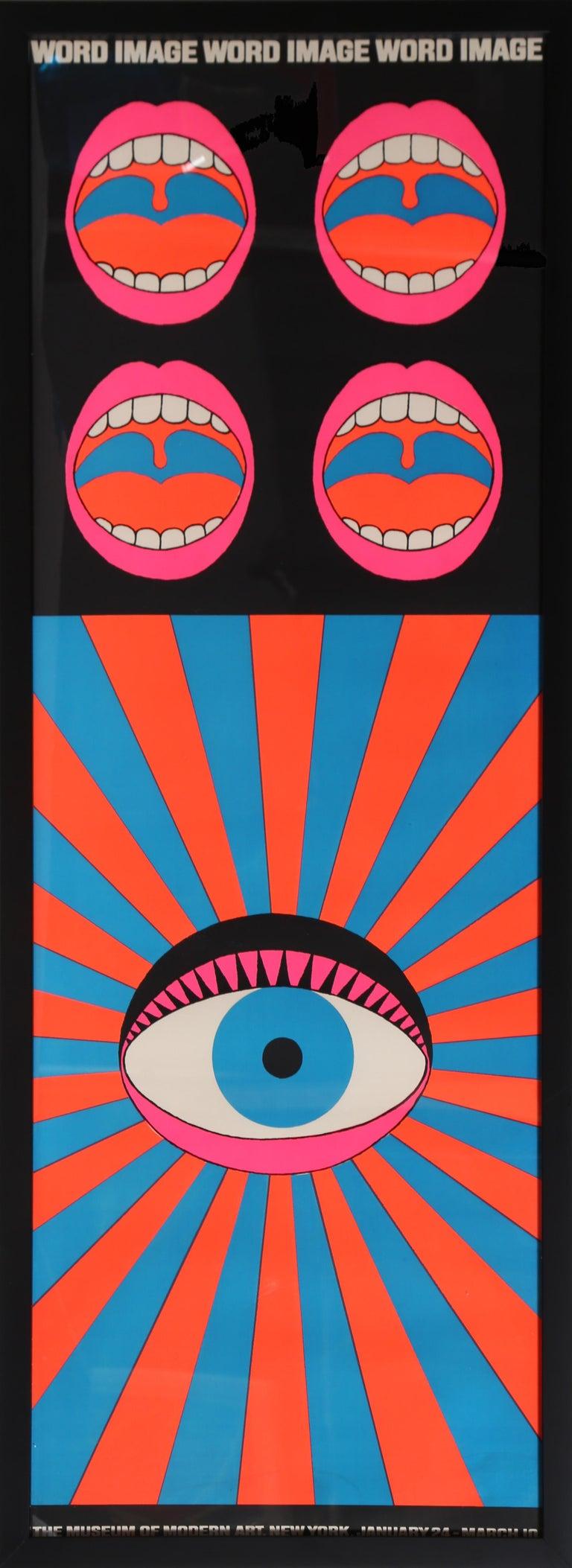 Artist: Tadanori Yokoo, Japanese (1936 - ) Title: Word and Image Year: 1968 Medium: Silkscreen Poster Size: 48 x 17.25 in. (125.73 x 43.815 cm) Frame: 49.5 x 18.5 inches