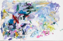 The Past is Always Changing, Large Horizontal Oil Painting, Purple, Pink, Green