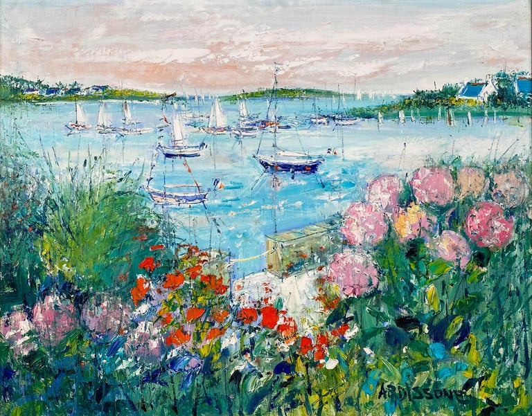 Flowering Garden Along the Water's Edge - Painting by Yolande Ardissone