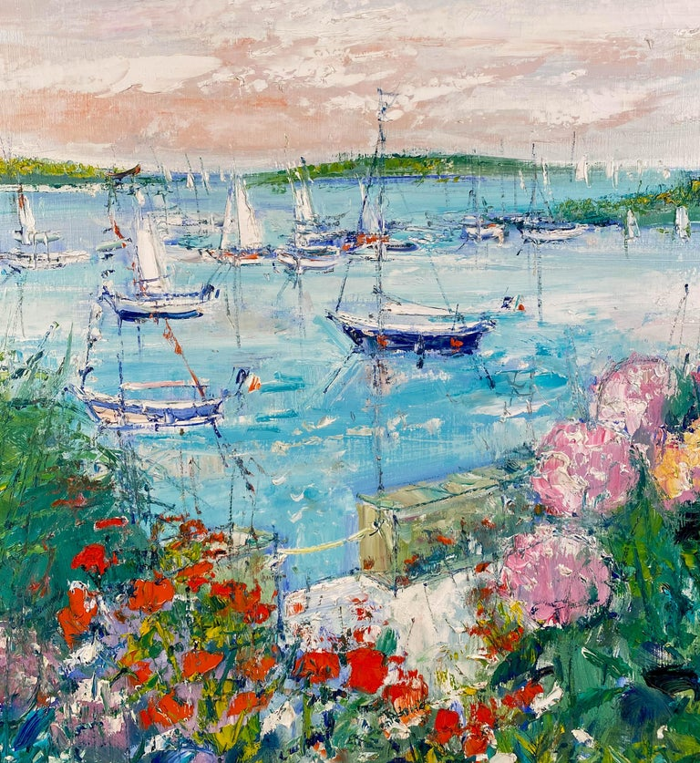 Flowering Garden Along the Water's Edge - Post-Impressionist Painting by Yolande Ardissone