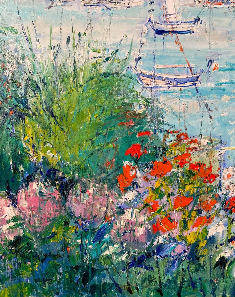 Flowering Garden Along the Water's Edge - Brown Landscape Painting by Yolande Ardissone