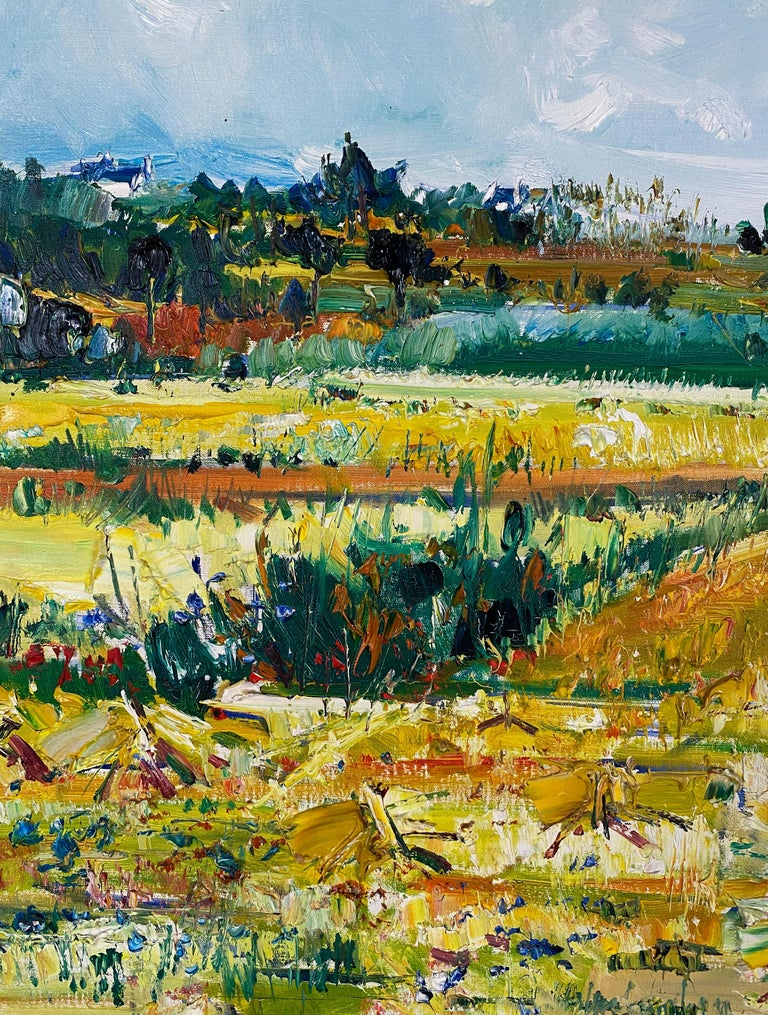 Harvesting - Brown Landscape Painting by Yolande Ardissone