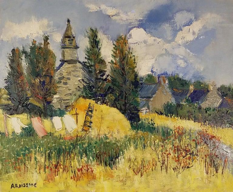"""St. Laurent Landscape, France,"" Yolande Ardissone, Bright Impressionist Meadow - Painting by Yolande Ardissone"