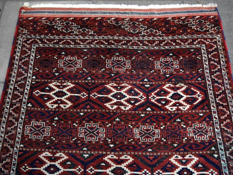 Yomud Tribeal Turkmen Turkoman Antique Rug with Ram Motive Hand Knotted Carpet For Sale 2