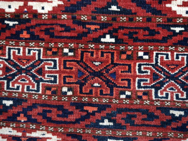 Yomud Tribeal Turkmen Turkoman Antique Rug with Ram Motive Hand Knotted Carpet For Sale 5