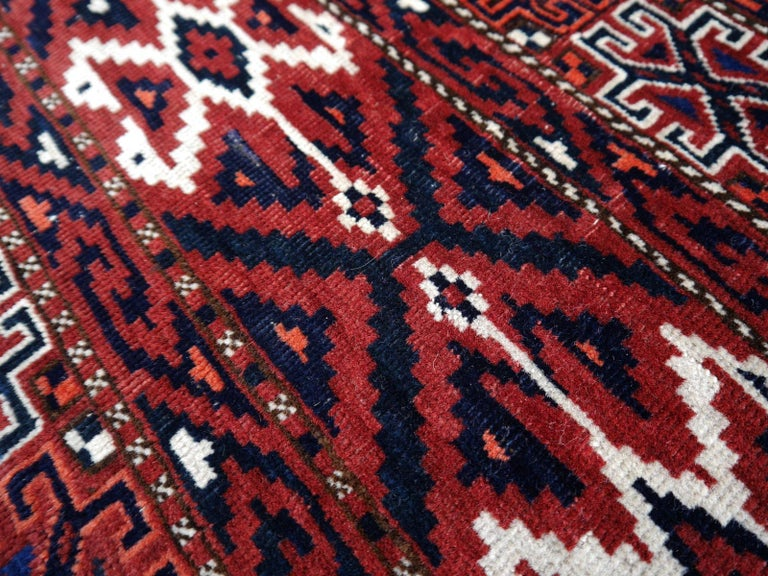 Yomud Tribeal Turkmen Turkoman Antique Rug with Ram Motive Hand Knotted Carpet For Sale 6