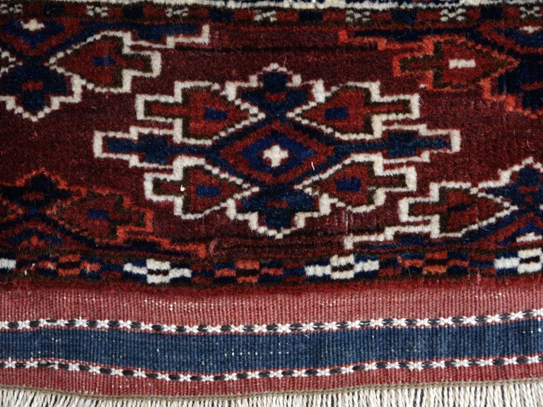 Yomud Tribeal Turkmen Turkoman Antique Rug with Ram Motive Hand Knotted Carpet For Sale 7
