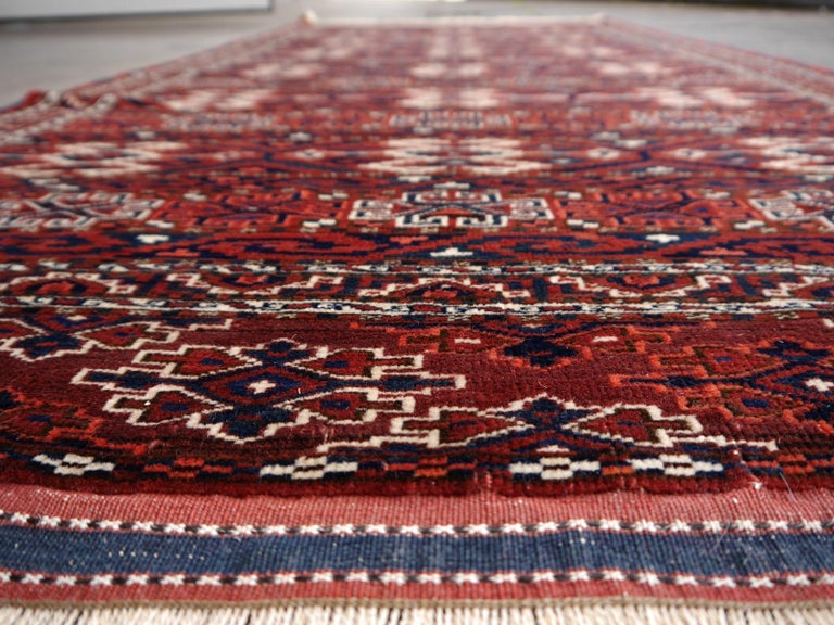 Yomud Tribeal Turkmen Turkoman Antique Rug with Ram Motive Hand Knotted Carpet For Sale 9