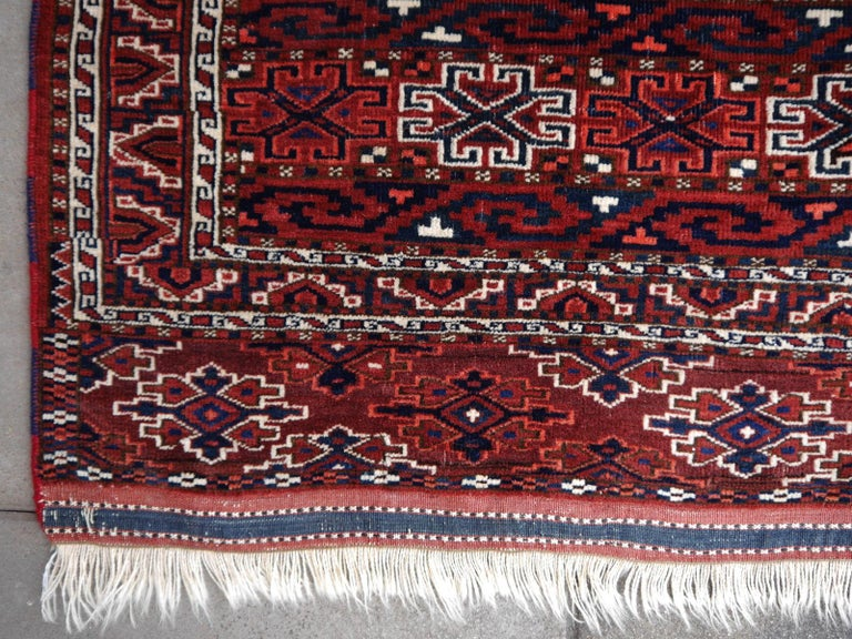 Tribal Yomud Tribeal Turkmen Turkoman Antique Rug with Ram Motive Hand Knotted Carpet For Sale