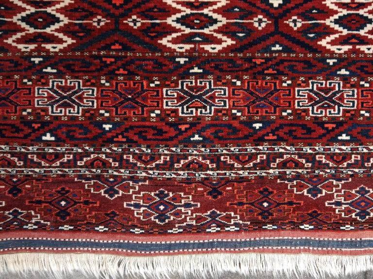 Turkestan Yomud Tribeal Turkmen Turkoman Antique Rug with Ram Motive Hand Knotted Carpet For Sale