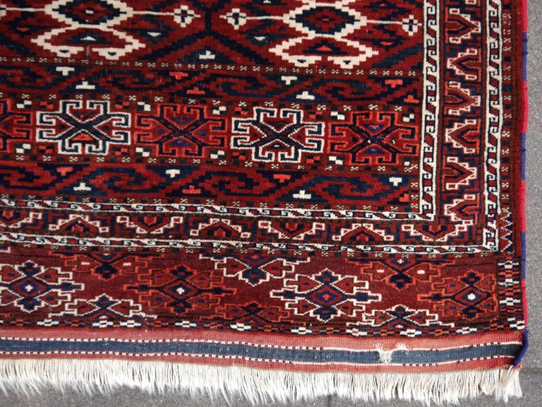 Hand-Knotted Yomud Tribeal Turkmen Turkoman Antique Rug with Ram Motive Hand Knotted Carpet For Sale