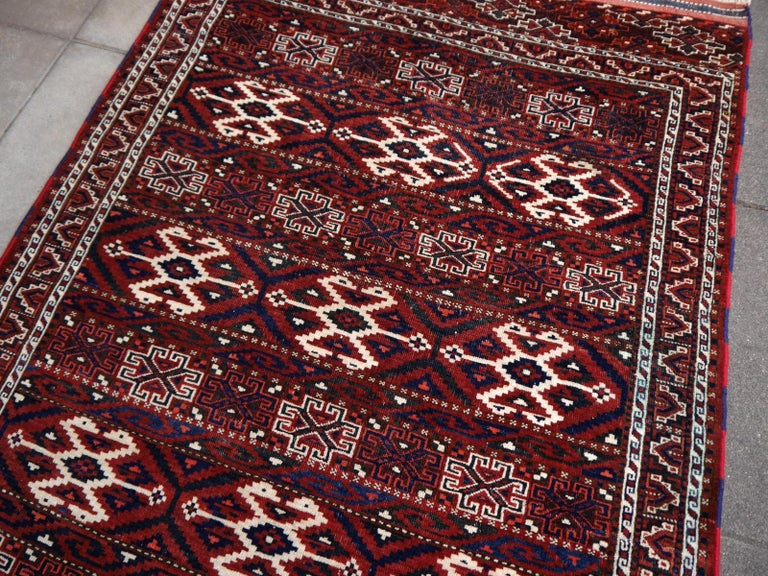 Wool Yomud Tribeal Turkmen Turkoman Antique Rug with Ram Motive Hand Knotted Carpet For Sale