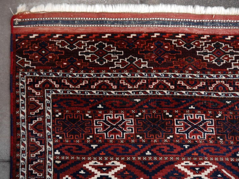 Yomud Tribeal Turkmen Turkoman Antique Rug with Ram Motive Hand Knotted Carpet For Sale 1