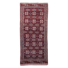 Yomud Tribeal Turkmen Turkoman Antique Rug with Ram Motive Hand Knotted Carpet