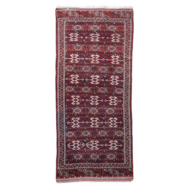 Yomud Tribeal Turkmen Turkoman Antique Rug with Ram Motive Hand Knotted Carpet For Sale