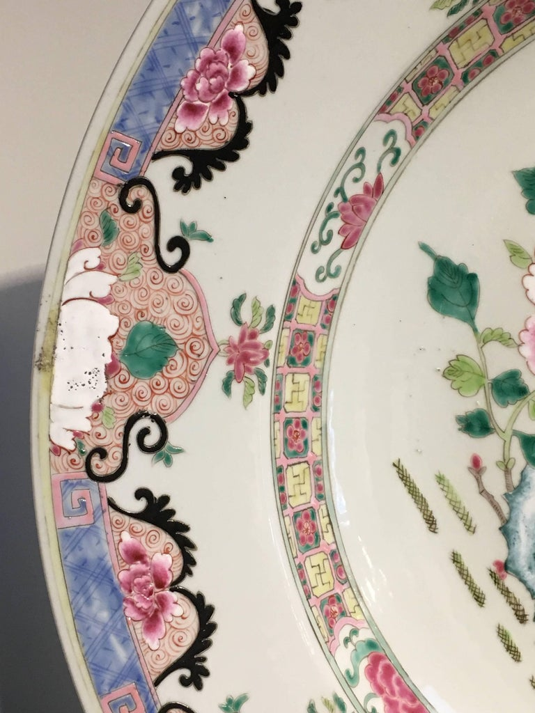 Yongzheng Chinese Export Style Famille Rose Large Charger, 20th Century For Sale 3
