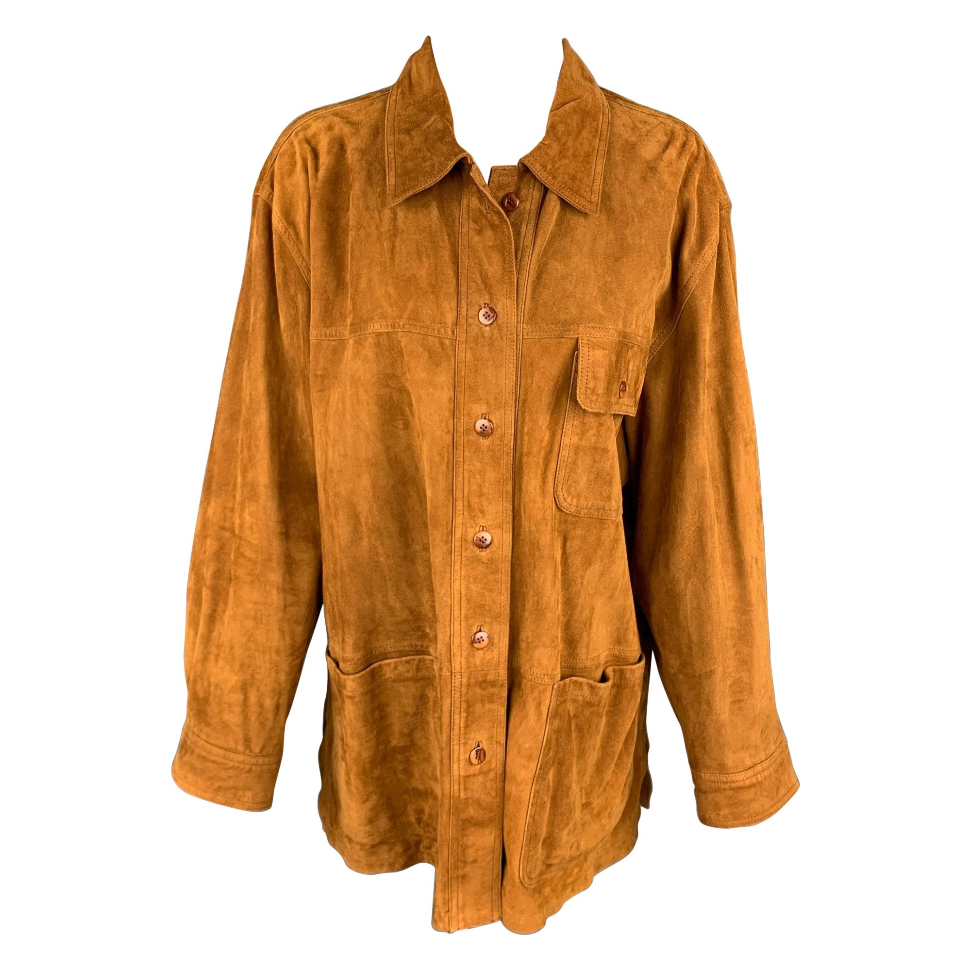YORK Size 12 Camel Suede Patch Pockets Buttoned Jacket