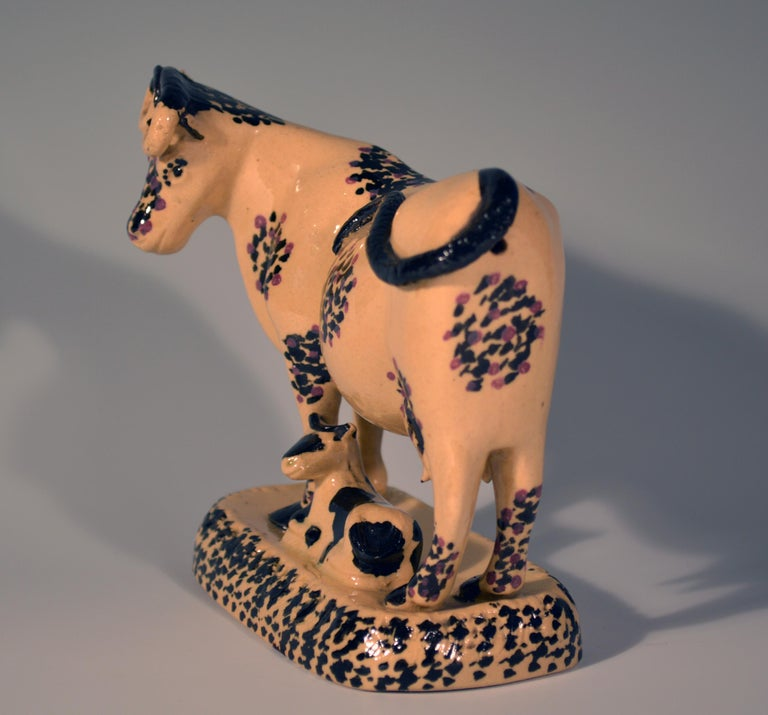 19th Century Yorkshire Pottery Cow Figure, circa 1810-1820 For Sale