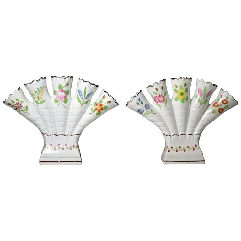 Yorkshire Pottery Quintel Vases with Floral Decoration by Don Pottery, 1815 For Sale