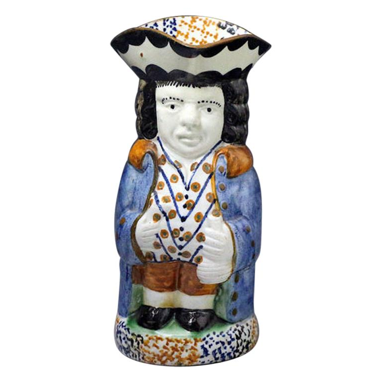 Yorkshire Pottery Toby Jug in Prattware Early 19th Century For Sale