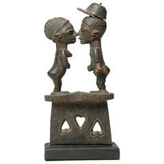 Yoruba Couple on Base with Hearts, Nose to Nose, Tribal Nigeria