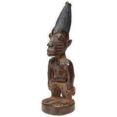 Yoruba Male Twin Figure, Ere Ibeji, Nigeria, West African Tribal Art with Beads