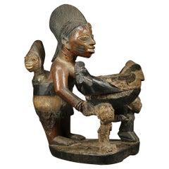Yoruba Maternity Offering Bowl Figure with Chicken, Africa, Nigeria
