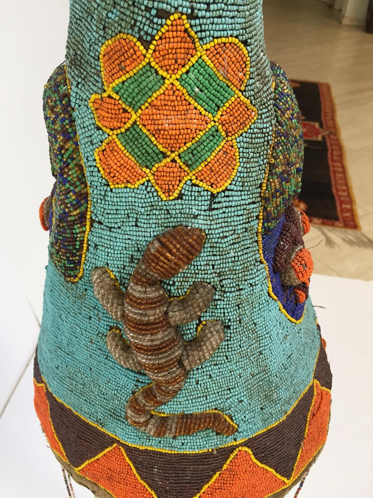Metal Yoruba Nigeria African Royal Beaded Headdress Crown on Lucite Stand For Sale