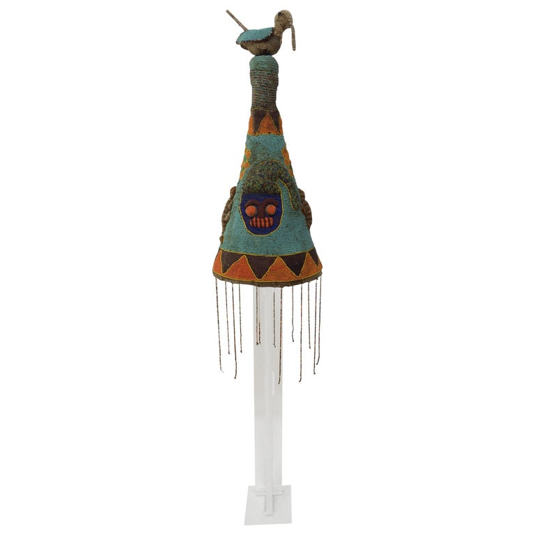 Yoruba Nigeria African Royal Beaded Headdress Crown on Lucite Stand For Sale