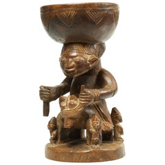 Yoruba Offering Bowl with Horse and Rider Early 20th Century Nigerian Tribal Art