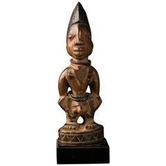 """Yoruba People, Nigeria, Carved Ere """"Ibeji"""" Male Twin Figure"""