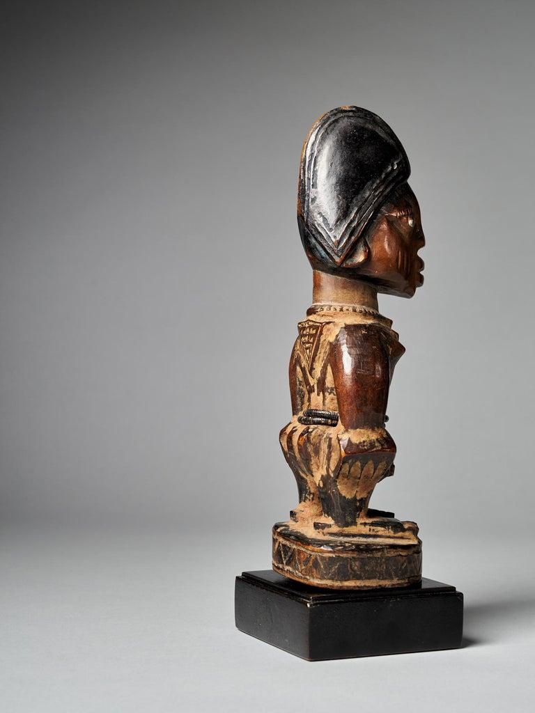 Patinated Yoruba People, Nigeria, Carved Twin Figure