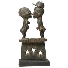 Yoruba Tribal Couple on Base with Hearts, Nose to Nose, Nigeria