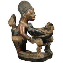Yoruba Tribal Maternity Offering Bowl Figure Chicken, Nigeria Africa Timeless