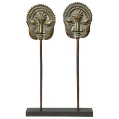 Yoruba Tribal Ogboni Pair of Brass Pins with Faces, Nigeria, Early 20th Century