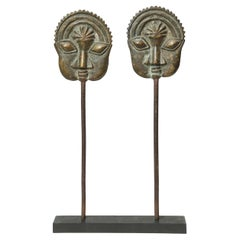 Yoruba Tribal Ogboni Pair of Brass Pins with Faces, Nigeria Early 20th Century