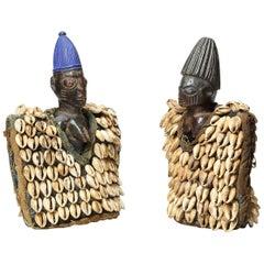 Yoruba Tribal Pair of Ibeji Figures with Cowrie Cloaks, Nigeria, Africa