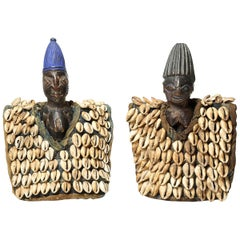 Yoruba Twin Figures with Cowrie Cloaks, Nigeria, Africa, Early 20th Century