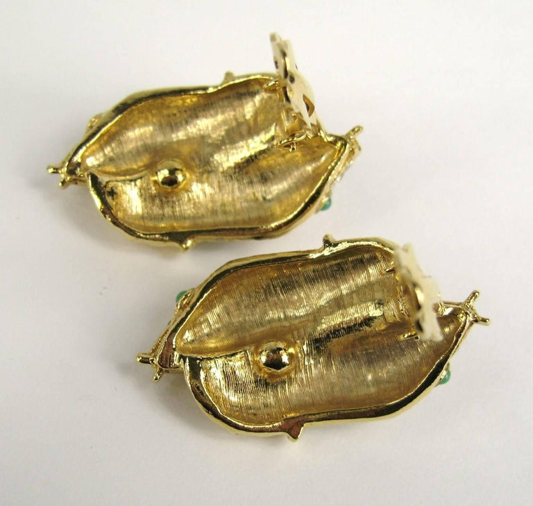 Yosca Gold & Gripoix Glass Double Headed Snake Earrings Never Worn 1990s In New Condition For Sale In Wallkill, NY