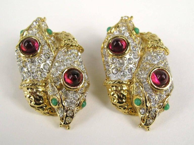 Women's Yosca Gold & Gripoix Glass Double Headed Snake Earrings Never Worn 1990s For Sale