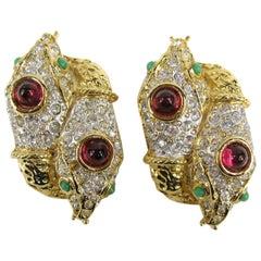 Yosca Gold & Gripoix Glass Double Headed Snake Earrings Never Worn 1990s