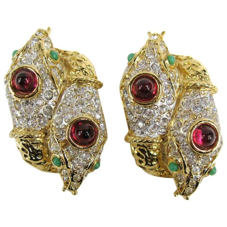 Yosca Gold & Gripoix Glass Double Headed Snake Earrings Never Worn 1990s For Sale