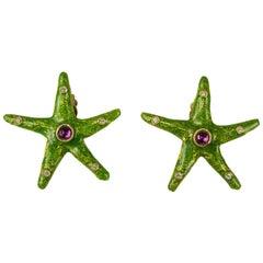 Yosca Green Earrings enameled Starfish New, Never Worn - 1980s