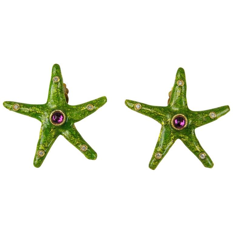 Yosca Green Earrings enameled Starfish New, Never Worn - 1980s For Sale