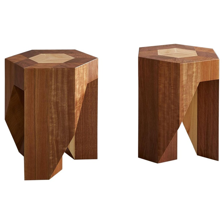 Yosegi, Modern Japanese Style Multi-Functional Pair of Stools by Tamen For Sale